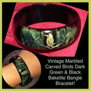 VTG Marbled Carved Birds Bakelite Bangle Bracelet!